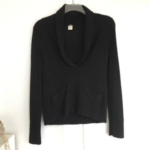 J. Crew Black Dolce Shawl Collar Sweater. Medium